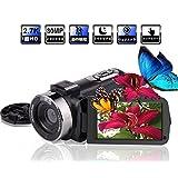 ビデオカメラ デジタルカメラ 2.7K 30FPS 30MP 、IRナイトビジョン 回転式3.0インチタッチスクリーン 自撮り 連続撮影機能 タイムラプス YouTubeカメラ ウェブカメラ HDMI出力 UVレンズ搭載可(リモコン付き)