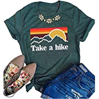 FAYALEQ Take a Hike T Shirt Sunset Graphic Tee Women Hiking Camping Funny Saying Casual Loose Short Sleeve Tops