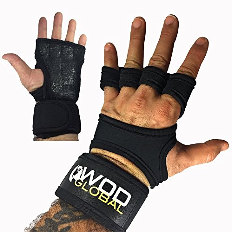 ジム手袋手首サポート、抱くフィットネス、シリコンパッド入りグリップメンズ&レディース、ブラック、ネオプレン、Crosstraining手袋、カルス保護、クロスフィット、手首ラップウエイトリフティング、Large、by抱くグローバル