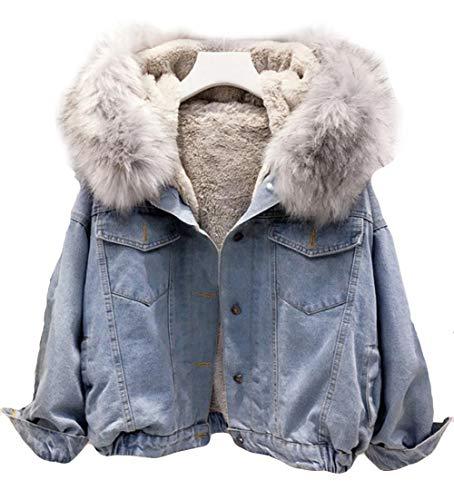 MengFan レディース デニムコート 秋 冬 ジャケット 中綿コート 無地 ライトブルー 裏起毛 あったか ロングコート ゆったり 女性用 アウター 韓国風(ライトブルー)