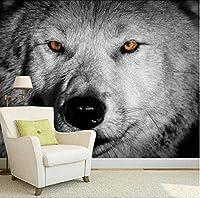 Lcymt カスタム壁紙ライオンタイガー黒と白の動物壁画入り口寝室のリビングルームのソファーテレビの壁の壁画の壁紙家の装飾E-120X100Cm