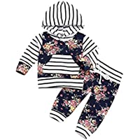 MLCHNCO Baby Outfit for Toddler Boy Girl Striped Long Sleeve Hoodie Top Floral Pant Set