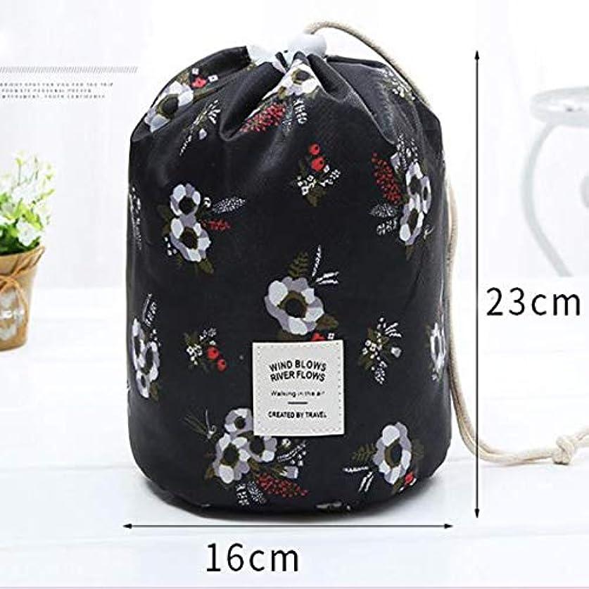 ピグマリオン公然と切手WMWLUO ギフトバッグ、化粧品袋、大容量、多機能巾着、円筒ウォッシュバッグ (Color : Black)