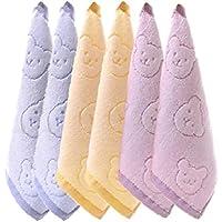 綿 100% タオル ベビー 子供 キッズ クマ ウサギ 25cm ハンカチ (6枚青紫黄)
