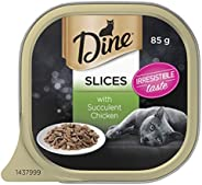 DINE Slices With Succulent Chicken Wet Cat Food, Adult, 28 x 85 Grams Pack