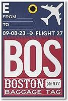 BOSボストン–Airport荷物タグ–新しい旅行ポスター
