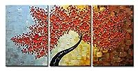Asdam Art - 100% 手描き 3D 油絵 メープルツリー 写真 ホームインテリア レッドアートワーク キャンバス ウォールアート すぐに掛けられる 抽象画 リビングルーム 壁飾り オフィス L-20x30x3inch (50x75cmx3) ASD052-5075X3-01