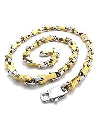 [テメゴ ジュエリー]TEMEGO Jewelry メンズステンレススチールポリッシュネックレスリンクチェーンネックレス、22インチ、ゴールデンシルバー[インポート]