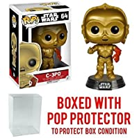 Funko POP 。STAR WARS : THE FORCE AWAKENS – C - 3po # 64 Vinyl Figure (バンドルwith Popボックスプロテクターケース)