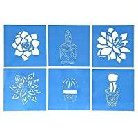 Cactus and Succulent Stencil Templates - Set of Six 10cm Desert Southwest Designs for Home Decor, Paper Crafting, Scrapbooking, Journaling, and Multimedia Art & Craft Projects