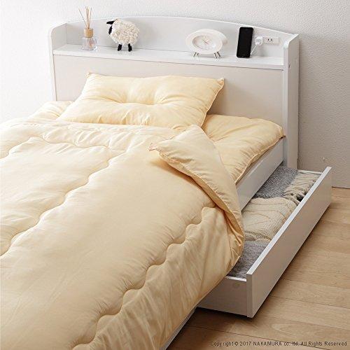 白い収納ベッド シングル + 国産 掛け布団・敷布団・まくら3点セット ハニーベージュ