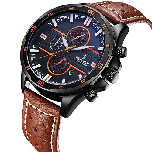 腕時計、メンズ腕時計、クラシック スポーツ おしゃれな レザーウォッチ リアルレザーストラップ カレンダー 防水 多機能 メンズクォーツ時計 (ブラウン)
