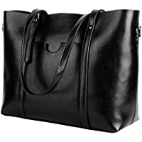 YALUXE Women's Vintage Style Soft Leather Work Tote Large Shoulder Bag