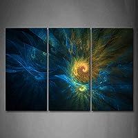 最初壁アート–抽象ブルーイエローLike煙のキャンバスの壁アート絵画プリント抽象画像ホーム装飾ギフト 16x32inchx3Panel 8208130F