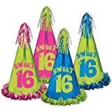 Beistle 60622 12パックFringed Foil Sweet 16 Party Hats, 12 – 1 / 2インチ