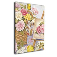 絵の具 花 絵 籠 壁アート 現代絵画 キャンバス絵画 リビングルーム 額縁付き プレゼントに ウォールアート 軽くて取り付けやすい(30x40cm)