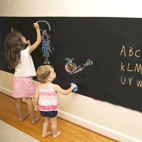RoomClip商品情報 - 壁 に 貼って はがせる 黒板(ブラックボード)ウォール ステッカー 2M×45cm 4色 5本入 チョーク付き【little Monster】