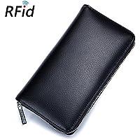 """Long RFID Antimagnetic Real Leather 6"""" Phone Bag Card Holder Cash Wallet Purse Black"""