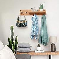 コートは棚多機能ハンギング木製フックハンガーアップ壁掛けベッドルームリビングルームの壁ラック、74分の61 / 87times、16倍、13センチメートル(色:5つのフック) lxhff (Color : 6 Hooks)