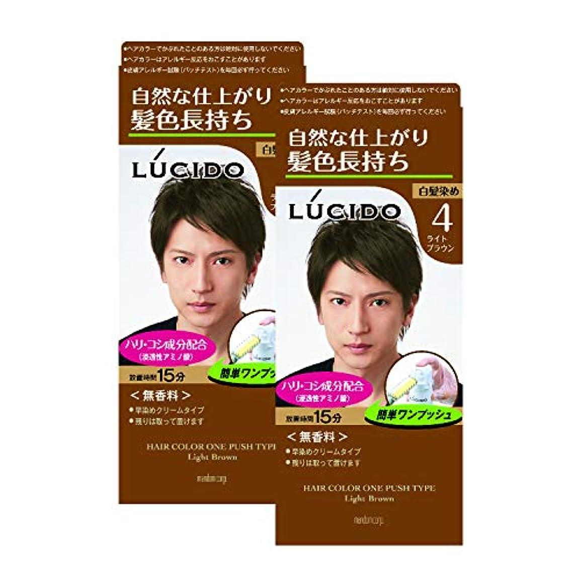 【まとめ買い】ルシード(LUCIDO)ワンプッシュケアカラー ライトブラウン 2個パック メンズ用 無香料 白髪染め ショートヘア約4回分 (医薬部外品)