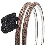 SHINKO(シンコー) 自転車 タイヤ チューブ 各2本セット ペア巻き DEMING LL SR078 ブラウン ママチャリ シティサイクル (26インチ 26x1_3/8)