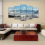 キャンバスの壁アート写真モジュラーフレーム家の装飾5個雪山絵画現代のHDプリント自然風景ポスター,Frame,size3