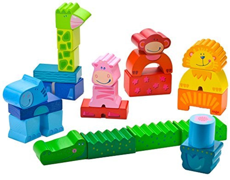 HABA Zippity Zoo Colorful Wooden Animal Blocks [並行輸入品]