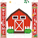 Farm Animal Porch Banner Barnyard Birthday Party Welcome Door Sign Family Farmhouse Baby Shower Decorations