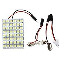 SODIAL(R)2x 48 SMD 5050 白色LEDパネルインテリアランプ+ T10ソケット+ BA9Sソケット+花綱アダプター