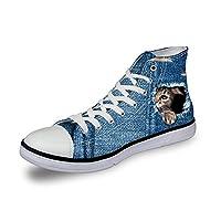 DingDing スニーカー メンズ ハイカット レディース シューズ 通学 軽量 アウトドア トラベル ランニングシューズ おしゃれ 日常着用 かわいい デニム風 猫柄 靴