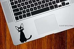 WOLFING 全サイズ MacBook 対応 アートステッカー スキンシール 魔女の宅急便 ジジ キーボードサイズ ブラック 044