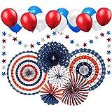 Sandeye 7月4日 愛国的装飾 - 赤 白 青 ハンギングペーパーファン パーティー装飾用品