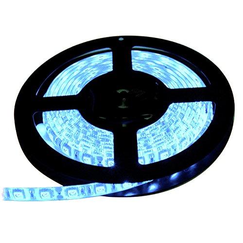 【テープ単体】 12V 両端子 5M 3チップ 防水LEDテープライト LEDイルミネーション (アイスブルー色/白ベース)