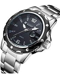 腕時計 メンズ腕時計 カジュアル ファッション ビジネス ステンレススチールウォッチ 日付表示 コマース スポーツ防水クォーツドレス時計 (ブラック)