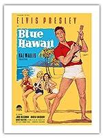 ブルーハワイでエルビス・プレスリー - ビンテージなフィルム映画のポスター によって作成された ロルフ・ゲッツェ c.1961 -プレミアム290gsmジークレーアートプリント - 46cm x 61cm