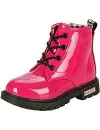 (ピピシダ)PPXID 子供ブーツ 編み上げ靴 キッズショートブーツ フォーマル靴 マーティンブーツ 男女兼用 サイドゴア付き 滑り止め 通気性抜群 入学式 卒業式 ブラック ローズレッド (サイズ:12.5-21.5cm)