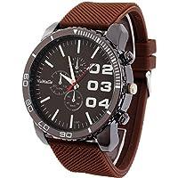 Outop 1pcsブラウンカジュアルメンズレディース3Eyes大きなダイヤルクォーツ腕時計