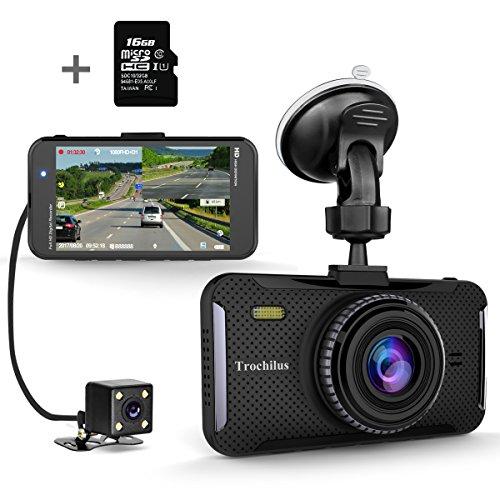 Trochilusドライブレコーダー 1080PフルHD 4.0インチ 170°広視野角ドライブレコーダー 前後カメラ Gセンサ、WDR、ループ録画駐車監視、 n動き検出、32GB SDカード