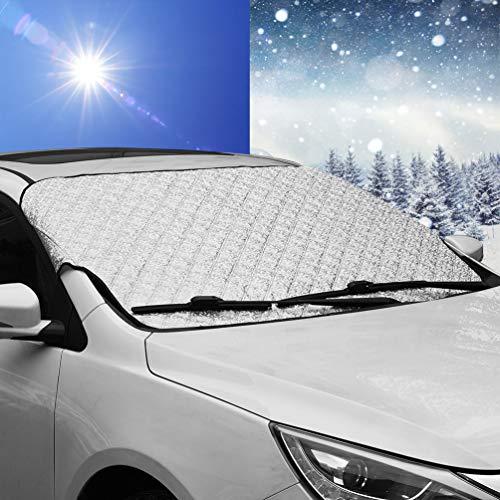 YEKOO カーフロントカバー 凍結防止カバー 車用フロントシート 雪対策シート サンシェード 車 日よけ防止 四季用 サイズ:187*95cm 普通車/軽自動車/SUVに適用