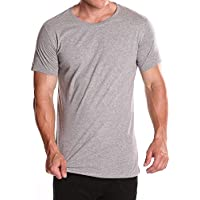 Mens new basic tee casual cotton short sleeve t-shirts Grey