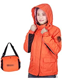 PENGFEI オレンジ 防水 レインコート ジャケット レインパンツ 屋外 薄いセクション 快適 分割タイプ 通気性メッシュ、 4サイズ (サイズ さいず : S s)