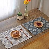 4枚セット40x30cm 2枚合わせで縫製 灰白愛 棉麻製和風のおしゃれ ランチョンマット とリバーシブルで使え プレイスマット コットン リネン布製