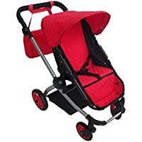 Modern Babyboo Doll Stroller -SUPERIOR QUALITY Red Quilted Fabric- NEW LUXURY COLLECTION - Adjustable Height - FREE Diaper Bag [並行輸入品]