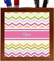 Rikki Knight Olive Pink Chevron Name Design 5-Inch Wooden Tile Pen Holder (RK-PH7753) [並行輸入品]