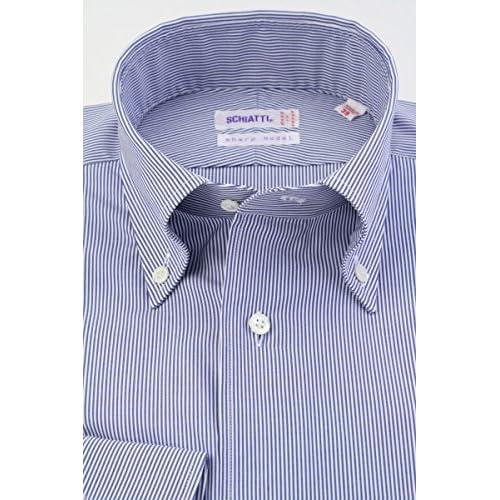 (スキャッティ) SCHIATTI 80番手 双糸 ブロード 白×ネイビー ヒッコリーストライプ ボタンダウン (細身) ドレスシャツ bd4099-4185