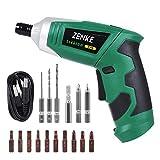 ZENKE 電動ドライバーセット 充電式 正逆転可能 照明機能 12本ビット 3本ツイストドリル 1本延長棒 コードレス(グリーン)