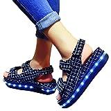 【Wild Cats】LEDサンダルスニーカー USB付き 韓国風 コンフォート 厚底 光る靴(エコバック付き)BLKBLU-36