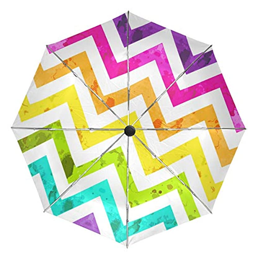 冷蔵する背骨処理する傘 自動傘 丈夫 台風対策 雨傘 日傘 カラフルなストライプ 三つ折り傘 日よけ傘 日焼け止め 折りたたみ傘 UVカット 紫外線カット 自動開閉 晴雨兼用 梅雨対策
