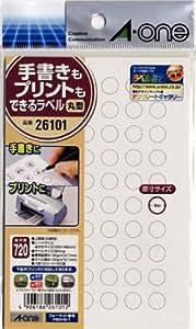 エーワン 手書きもプリントもできるラベル 丸型60面 9mm 12シート 26101