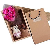 バレンタインギフト人工ローズフラワーバースデーギフト (色 : 7+bear~rose)